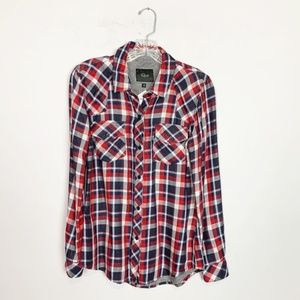 Rails | plaid button up flannel red & navy blue XS